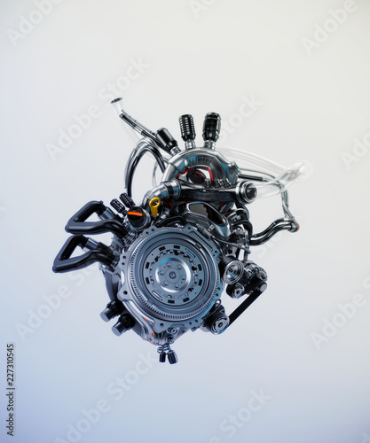 Poster Motocyclette Robotic heart