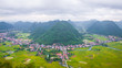 Bac Son mountain from top view to a small town and rice field in Vietnam