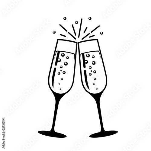 Champagne glass vector icon. Wallpaper Mural