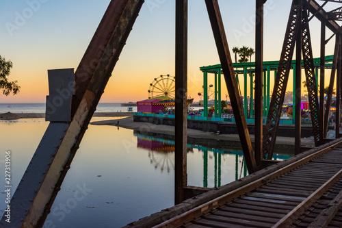 Santa Cruz, California - Railroad Bridge and Boardwalk Canvas Print