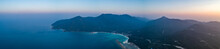 Sunset Ocean, Island. Aerial Drone Shot. Panorama. Thailand. Wonderful Overview Scenery Ko Pha-ngan Island And The Ocean At The Colorful Sunset. The Kingdom Of Thailand (former Siam), Southeast Asia.