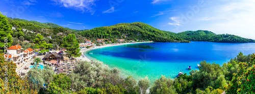 Best beaches of Skopelos - beautiful Panormos bay. Sporades islands of Greece