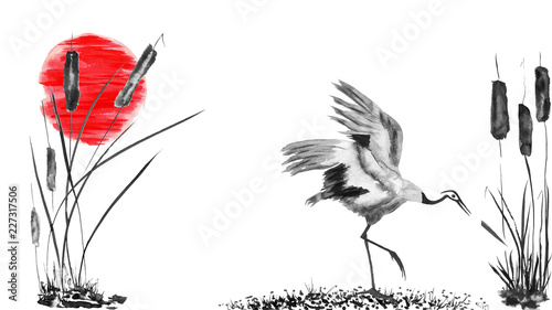 Photo  Japanese crane bird drawing and red sun