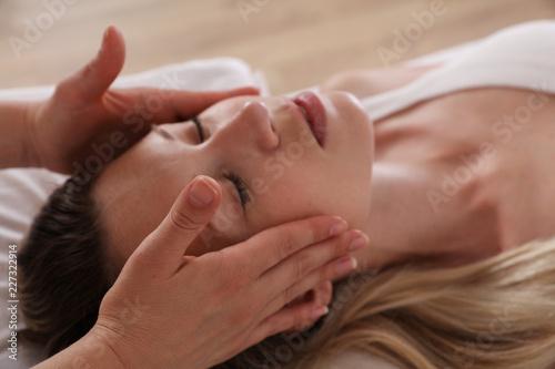 Woman enjoying head massage Canvas Print