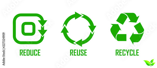 Fotografie, Obraz  set of reduce reuse recycle element concept. easy to modify