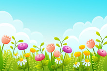 Cute Cartoon Flowers In Green Grass Border. Pink Tulips, Chamomile And Yellow Buds. Spring Scene With Blue Sky Ans Clouds. Vector Illustration.