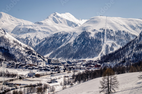 Views around Espace Killy the ski resorts of Tignes and Val D'Isere on a fantastic winter day in Februari. Espace Killy is a name given to a ski area in the Tarentaise Valley, Savoie in the French Alp