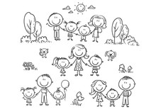 Happy Families Set With Children, Outline Illustration