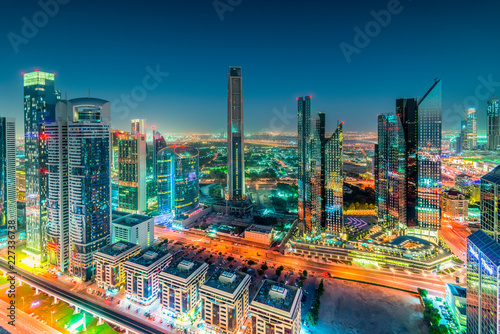 Night view of High Rises on Sheikh Zayed Road, Downtown Dubai, Emirate of Dubai, UAE, Asia