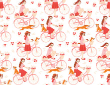 Cycling - Seamless Pattern With Cartoon Girls, Bicycles, Flowers, Dogs