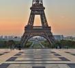 Eiffel Tower at sunrise.