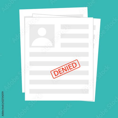Fotografía  Denied reject document with stamp