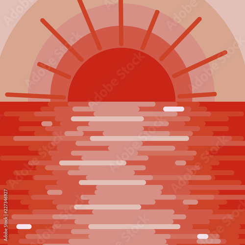 Red bright background, landscape with sunset on the water