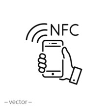 NFC Communication, Payment With Smartphone  Icon, Linear Sign Isolated On White Background - Vector Illustration Eps10