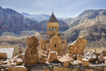 Noravank Monastery Complex Built On Ledge Of Narrow Gorge.  Tourist And Historical Place. Armenia