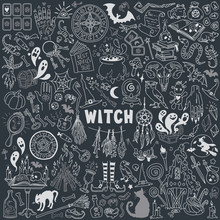 Witch And Witchcraft Doodles S...