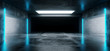 Sci-Fi Futuristic Modern Grunge Concrete Empty Underground Tunnel Corridor Garage With Reflections And Blue Neon Glowing Tube Lights 3D Rendering