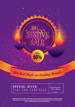 Big Festival Sale, Offer Poster Design Layout Template With 50% Discount Tag
