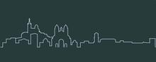 Marseille Single Line Skyline