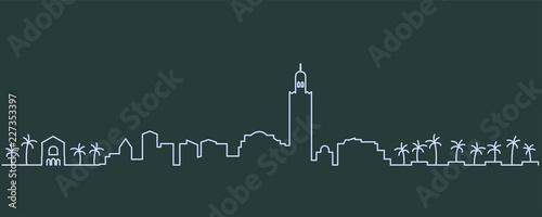 Canvastavla  Marrakesh Single Line Skyline