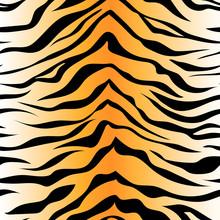 Seamless Tiger Stripe Pattern. Vector Animal Skin Background Print.