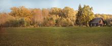 Autumn Panorama. Landscape View. Autumn Sunny Day