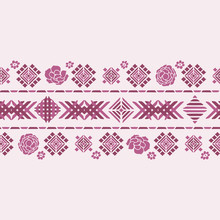 Vector Floral Geometric Embroidery Border Color Silhouette Ornament
