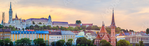 Canvas Prints Budapest Budapest cityscape and golden sunset over historical district in Hungary, panoramic view