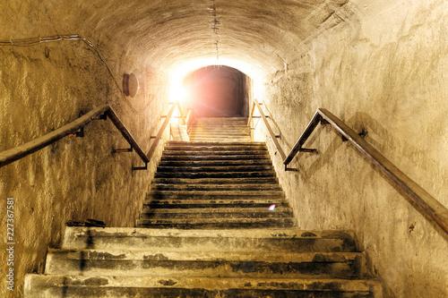 Photo  Corridor of old abandoned underground Soviet military bunker