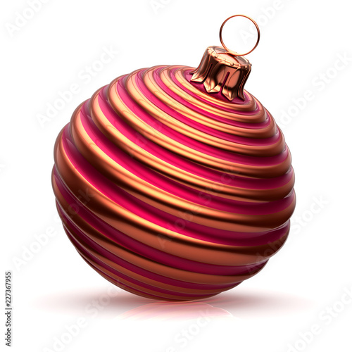 Fotografia  Xmas ball Christmas decoration striped red golden stylish