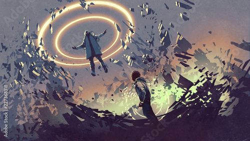 фотография sci-fi scene showing fight of two futuristic men with magics, digital art style,