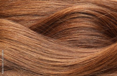 Obraz na płótnie Texture of healthy red hair as background, closeup