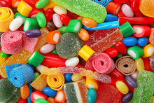 Pile Of Delicious Colorful Chewing Candies As Background