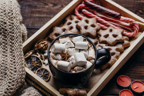 Christmas Poster Template Composition With Hot Chocolate
