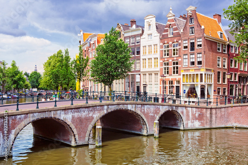 Fototapety, obrazy: Keizersgracht and traditional houses in Amsterdam