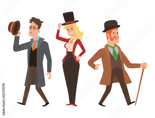 Fototapeta Vintage victorian cartoon gents retro people vector