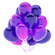 canvas print picture purple balloons bunch, birthday party decoration violet glossy, helium balloon shiny colored blue translucent. 3d rendering illustration