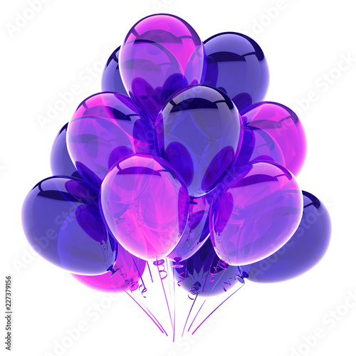 purple balloons bunch, birthday party decoration violet glossy, helium balloon shiny colored blue translucent. 3d rendering illustration