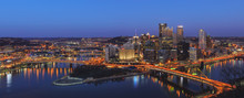 Panoramic View Of The Downtown Of Pittsburgh At Night. View From Mt.Washington