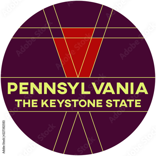 Vászonkép pennsylvania: the keystone state | digital badge