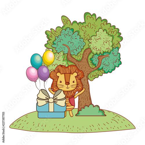 Staande foto Kasteel Happy birthday cute animal