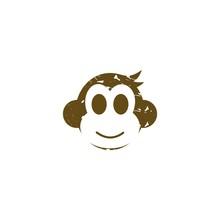 Head Monkey Cute Abstract Illustration Vector Logo