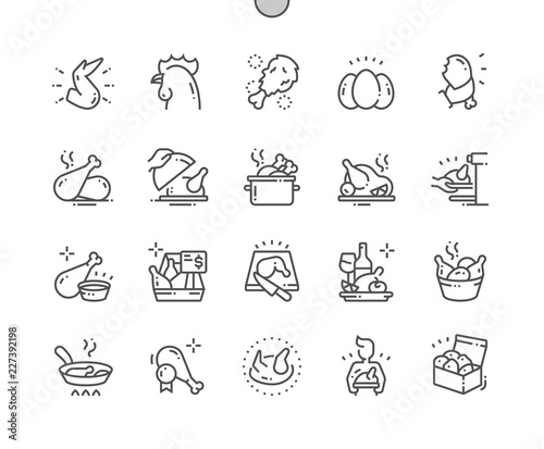 Stampa su Tela Chicken Well-crafted Pixel Perfect Vector Thin Line Icons 30 2x Grid for Web Graphics and Apps