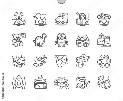 Carta da parati Toys Well-crafted Pixel Perfect Vector Thin Line Icons 30 2x Grid for Web Graphics and Apps