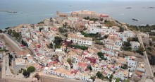 Aerial View Ibiza Old Town And Ocean