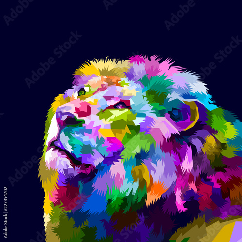 colorful head lion's facing up фототапет