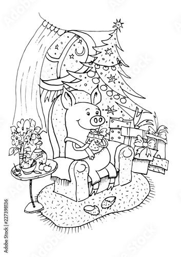 Lucky Pig Black Outline Coloring Book 2019 Chinese New Year Of The