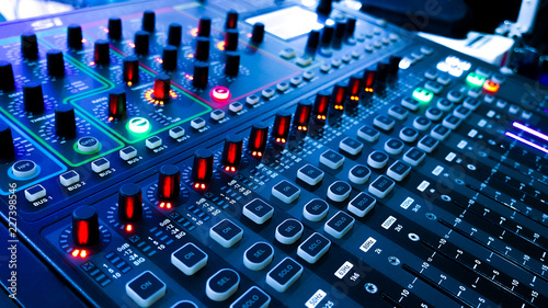 Obraz na plátně  Light and Sound control mixer for Event on stage ,Professional device equipment