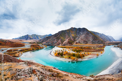 The confluence of the Chuya and Katun rivers in Altai, Siberia, Russia Wallpaper Mural