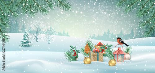 Foto op Canvas Lichtblauw Vector Christmas Landscape